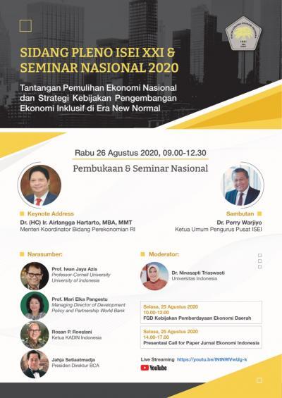 Sidang Pleno ISEI XXI & Seminar Nasional 2020