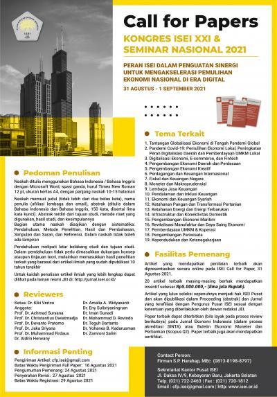 Call For Paper : Kongres ISEI XXI & Seminar Nasional 2021